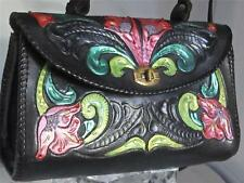 Vintage Artisan's Handmade Etched Tooled Leather Floral Bag Lilies Flowers Purse
