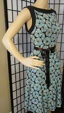 SANDRA DARREN 8 M BLUE BROWN GEOMETRIC DRESS SLEEVELESS SUNDRESS CAREER TAILORED
