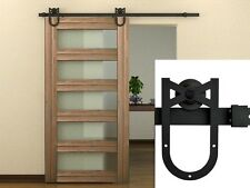 6 FT Black American Antique Horseshoe Barn Wood Sliding Door Hardware Track Set