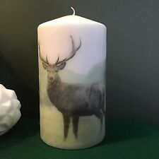 Pillar Candle Stag Deer Jasmine& Bergamot Scent Decoupage on Candle hand finish