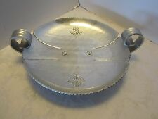 Aluminum Bowl tray footed Buenilum Mid-century  Buehner-Wanner Hammered Vintage
