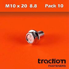 M10 x 20 Flange Bolt High Tensile 8.8 Metric 10mm 20mm Zinc Plated Hexagon Screw