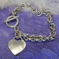 "Engraveable Heart 7 1/2"" Chain 0.925 Sterling Silver Estate Bracelet w Toogle"