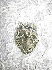 NEW HAND ENGRAVED TOTEM WOLF SPIRIT FACE USA CAST PEWTER PENDANT NECKLACE