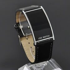 LED Digital Date Watch Leather Strap Stainless Steel Unisex Women Men Wristwatch