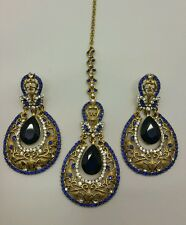 New Indian bollywood Elegant tikka and Earrings in royal blue costume