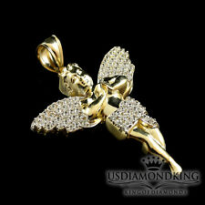 10K AUTHENTIC REAL YELLOW GOLD NEW HOLY ANGEL CHARM PENDANT 2.25 INCH 6.8 GRAMS