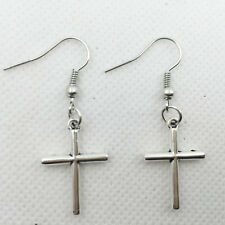 New 1 pair Free shipping Fashion Antique silver Jewelry cross earring #8
