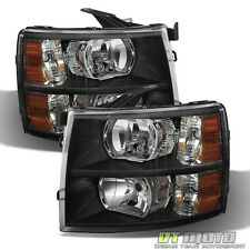 Black 2007-2013 Silverado Headlights Lamps Left+Right Aftermarket 2008 2009 2010