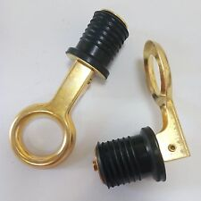 "2 x 1"" Drain Plug Rubber Brass Snap Flip Style Boat Hull Livewell Drain Plugs"