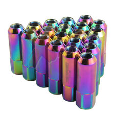 Forged Aluminum Wheel Lug Nut (20) M12 x 1.5mm x 60 mm Neo-Chrome 19 mm HEX