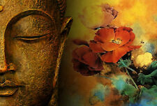 Framed Print - Golden  Bronze Buddha's Face with Red Flowers and Wasps (Picture)