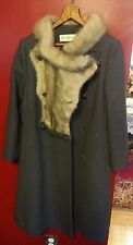 Beautiful Vintage Lillie Rubin Fur Collar Womans Long Coat Wool 5 Button Rare