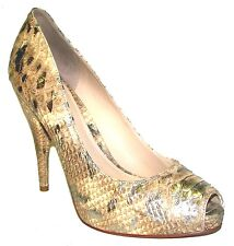 JOAN DAVID Dafelicita Gold Multy Snake Python Leather High Hills Shoes 8M $200
