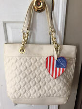 Betsey Johnson large quilted heart handbag tote Be Mine July 4th