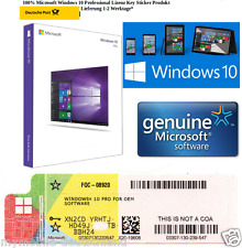 Windows 10 Professional key COA License 32/64 Bit Sticker Produkt Schlüssel