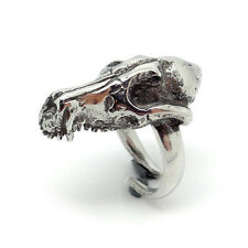 Handmade Big Statement Fox Skull Ring in Lead Free Pewter with Adjustable Band
