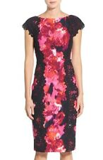 MAGGY LONDON LACE DETAIL & CREPE FLORAL PRINT SHEATH DRESS sz  16