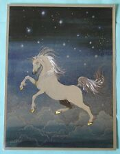 VINTAGE DUFEX FOIL ART PRINT FLYING UNICORN Made in ENGLAND NO FRAME