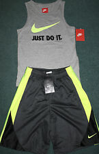 NWT Nike Boys YMD Gray/Neon Yellow/Black BIG SWOOSH Tank Top Shorts Set Medium