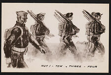 "1943 WWII Marshall Davis ""Hut tew three four "" Postcard Unused"