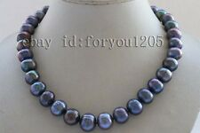"""18"""" Genuine Natural 13-15mm Black Round Pearl Necklace #f2463!"""