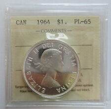 1964 CANADA $1 PL-65 CAMEO ICCS GRADED SILVER DOLLAR COIN
