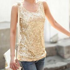 Ladies Sequined Bling Shiny Tank Tops Casual Shirt Top Vest Blouse Tee Gold 2XL