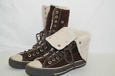 CONVERSE CHUCKS ALL STAR high Stiefel Fell gefüttert braun Wildleder 37,5 UK 5