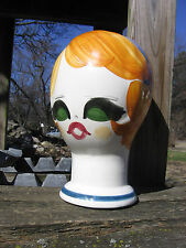 """60s Hand painted porcelain mannequin head Quadrifoglio Florence Italy 91/2"""" Tall"""
