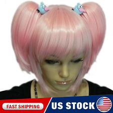 New Women Cosplay Party Pink Blonde Hair Full Wig Clip On Ponytail Long Straight