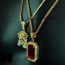 """HIP HOP ICED OUT RUBY & JESUS mini  PENDANT 24"""" 30"""" BOX CHAIN COMBO NECKLACE #11"""