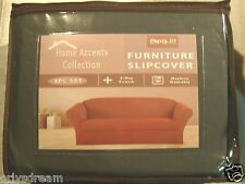 STRETCH FIT 3 Pcs Furniture Slipcover Set,Sofa/Couch+Loveseat+Chair Covers- GRAY