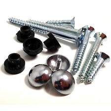 "4 x 1.5"" x 8g MIRROR SCREWS WITH 4 x CHROME DOME CAPS & 4 RUBBER GROMMETS"