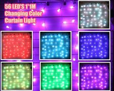 56 LED RGB Changing Multi Color Flashing Curtain Light XMAS Party In/ Outdoor