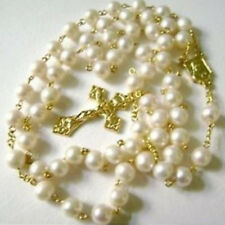 GLOD AAA 6-7mm Real Pearl NECKLACE ROSE ROSARY & CROSS CATHOLIC NECKLACE