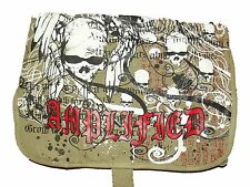 NEW AMPLIFIED UNISEX KHAKI CANVAS OVERBODY MESSENGER SATCHEL SKULLS DESIGN BAG