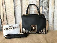 $595 COACH Colorblock Drifter Leather Black Python Turn Lock Tote Crossbody Bag