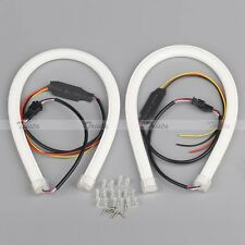 2x30cm Flexible Soft Tube Guide Car LED Strip White DRL&Amber Turn Signal Light