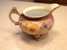 Vintage Antique Floral Creamer Gorgeou Hand Painted Gold Edging 3 Footed