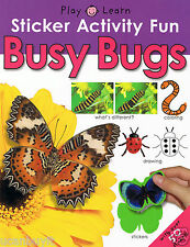 BUSY BUGS Educational Sticker Activity Fun Workbook w/Over 50 Stickers Age 3+