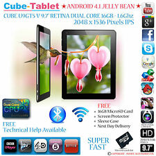 "Cubo u9gtv/u9gt5 Retina, 9,7 ""IPS de 2048 x 1536 Dual Core 1.6 ghz Android Tablet Pc"