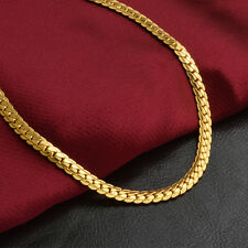 1Pc 5MM Gorgeous 18K Gold Plated Necklace Neck Chain Women Men Fashion Jewelry