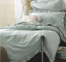 Shabby Mint Green Rags & Ruffles Linen King Doona Duvet Quilt Cover Set Chic New