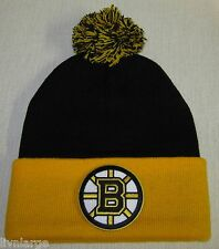 Boston Bruins Beanie ~KNIT CAP  ~HAT ~CLASSIC NHL PATCH/LOGO ~BLACK & GOLD  ~NEW