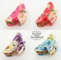 LARGE FLORAL FLOWER VINTAGE HAIR CLIP GRIP CLAW CLAMP BUTTERFLY PLASTIC (P1)