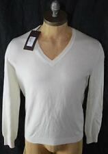 AUTH $825 Gucci Men White 100% Cashmere V Neck Sweater XXL