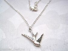"*CUTE SWALLOW BIRD* SP Ditsy Necklace 18"" chain Tattoo Sailor Jerry Rockabilly"