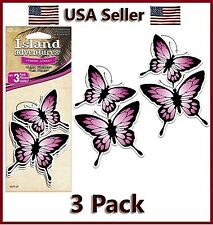 Pink Butterfly Air Freshener Fresh Linen Scent Auto & Car Hang Rear view Mirror