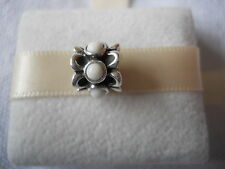 Genuine PANDORA sterling silver White Agate Forget me Not Charm 790470AGW